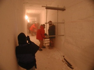 installing pipe supports in the tunnel