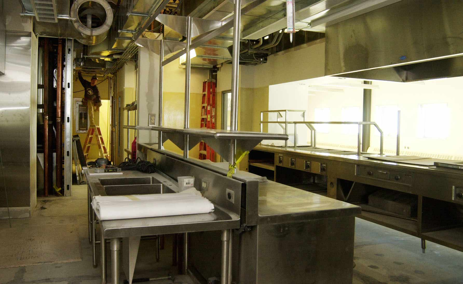 the galley food prep area