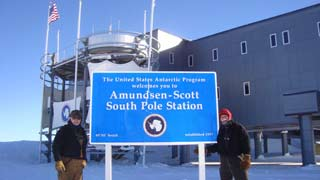 South Pole welcome sign