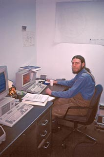 Bill Spindler in the O&M office, February 1990